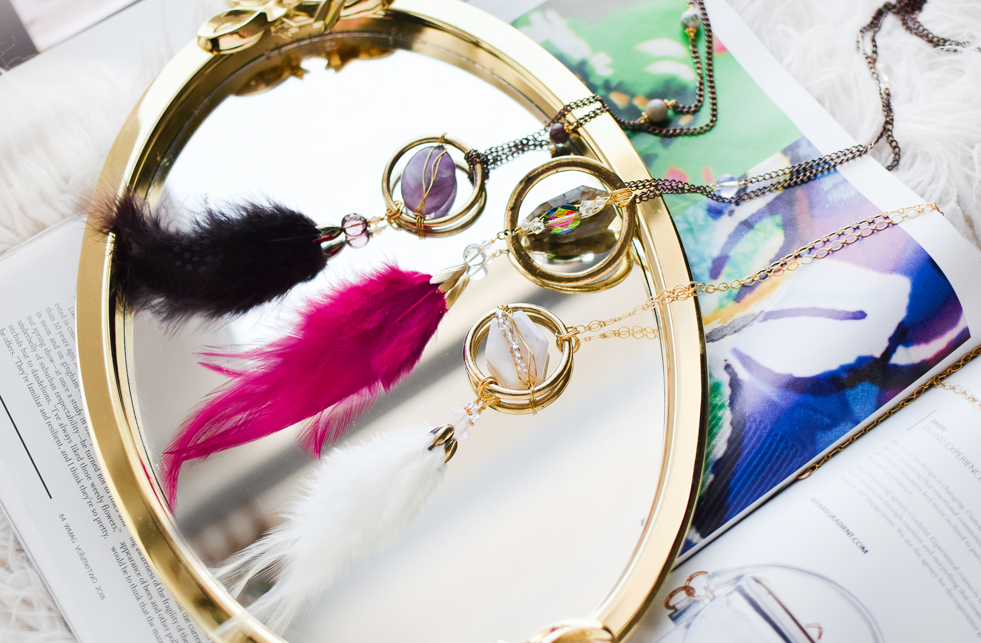 DIY Feather Daydream Necklaces by Quiet Lion Creations